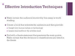 the division or classification essay catherine wishart senior   effective introduction techniques make certain the audience knows why this essay is worth reading