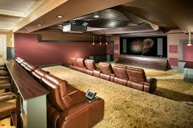 ... Charming Basement Interior With Various Basement Wall Color : Stunning  Home Theatre Decoration Using Light Brown ...