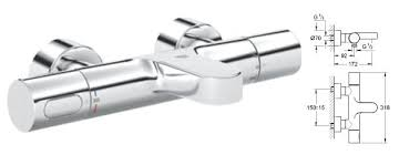 grohe grohtherm 3000 cosmopolitan thermostatic bath shower mixer 1 2 wall mounted