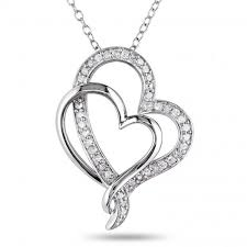 double open heart diamond pendant pave set in sterling silver 0 25ct