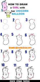 learn how to draw a cute cartoon kawaii with her unicorn balloon easy step by step drawing tutorial for kids beginners