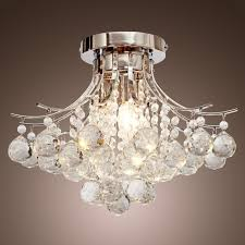 chrome finish crystal chandelier with 3 lights mini style flush mount ceiling light fixture