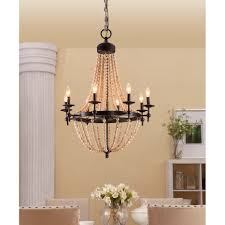 metal and wood chandelier. Sonoma Natural Beaded Black 8-light Chandelier (Metal) Metal And Wood