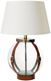 forbes clear glass and leather strap table lamp base