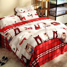 plaid bedding sets red plaid bed sheets bear printed duvet cover soft pillow case queen king