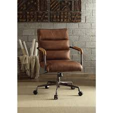 acme furniture harith retro brown top grain leather office chair 92414 the home depot