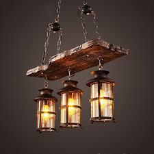 Bjvb Vintage Alte Industrielle Eisen Holz Kronleuchter Lampe