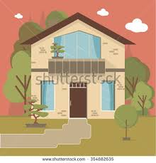 Beautiful family house and apartment banner on the nature background.  Traditional and modern house.