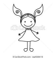 かわいい シルエット 手 女の子 服 図画