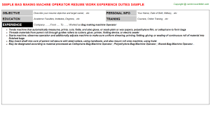 Bag Making Machine Operator Resume Resumes Templates
