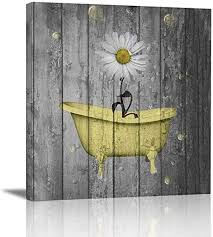 $9.99 quick view woven straw caddy price $19.99 quick view. Amazon Com Ale Art Rustic Floral Canvas Wall Art For Home Bathroom Decorations Yellow Gray Daisy Flower Bubbles Modern Giclee Bathroom Pictures Wall Decor Framed Ready To Hang 12 X12 Posters Prints