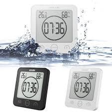 waterproof digital shower clock timer alarm temperature humidity meter bathroom
