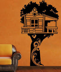 creative width tree hut wall decal