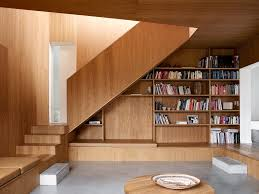 Wood Paneled Bookshelf Staircase