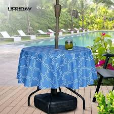 round umbrella table cloth with zipper geometric fl tablecloth waterproof fabric cover outdoor hotel garden