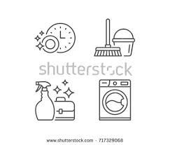 dishwasher clipart black and white. cleaning, washing machine and housekeeping service line icons. laundry, mop maid equipment dishwasher clipart black white