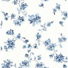 Flower Wall Paper 56 4 Sq Ft Cyrus Blue Floral Wallpaper