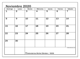 Calendario Noviembre 2020 Para Imprimir Calendario Noviembre 2020 50ds Michel Zbinden Es