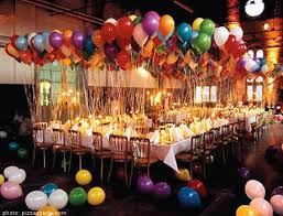 This party is bound to be successful with this many balloons! Find more  pretty party inspiration