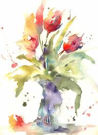 simple loose watercolour tulip s with andrew geeson