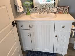 Solid Surface White Countertop Bathroom With Tile Backsplash Inspiration Tile Backsplash In Bathroom