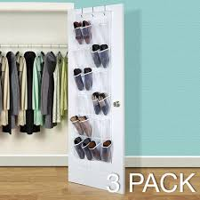 3 Pack] Over the Door Hanging Shoe Organizer [White/Clear] - Also ...