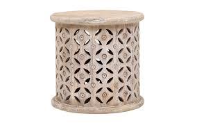 bagru side tablein burnt white rustic