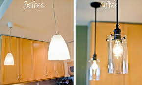hirondelle rustique upgrading our kitchen pendant lights chandelier before after individual hanging over counter island fluorescent