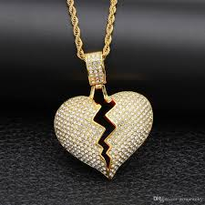 whole hip hop solid broken heart iced out pendants necklaces charm for men women gold color crystal jewelry gold circle pendant necklace diamond