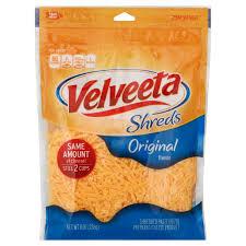 shredded cheese.  Cheese Kraft Velveeta Shreds Original Flavor Shredded Cheese U2011 Shop At Hu2011Eu2011B In T