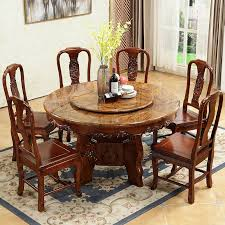 modern minimalist art carving chinese marble round table solid wood round table with turntable home dining table and chair combination canada 2019 from