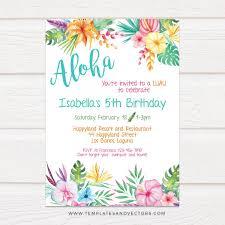 Aloha Hawaiian Party Birthday Invitation Diy Printable Template