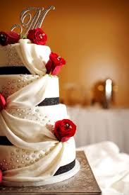 Wedding Cake With Draping Detail Foods Wedding Cakes Wedding