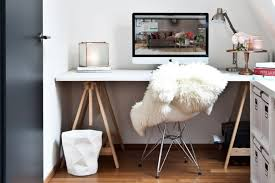 stylish home office desks. Stylish White Desk And Classic Fur Chair For Creative Ideas Home Office With Interior Color Desks