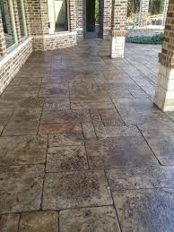 Stamped Concrete Pool Deck Frisco, TX would have been easier than the  flagstone and held up better
