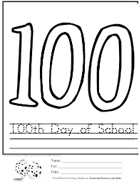 Small Picture 100 Day Coloring Pages 100th Day Coloring Page Freebie