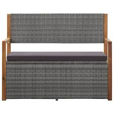 <b>Storage Bench 110 cm</b> Poly Rattan and Solid Acacia Wood Grey ...