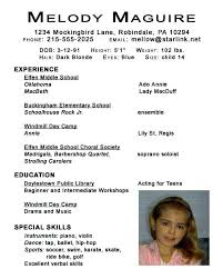 Child Resume Sample Sample Child Acting Resume No Experience Resume