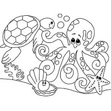 Small Picture Cute Sea Animals Gathering Coloring Page Download Print Online