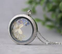 round glass locket necklace with