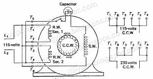 electrical control circuit schematic diagram of capacitor start 12 Lead 3 Phase Motor Wiring Diagram a two voltage capacitor start motor connected for counter clockwise rotation on 115 12 lead 3 phase motor wiring diagram