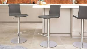 putty grey real leather bar stools