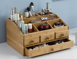 bamboo wooden makeup organizer jewelry box make up cosmetic storage
