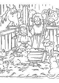 Kerst Kleurplaat Stal Christmas Nativity Kerstmis