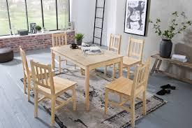 Finebuy Esstisch Mit 6 Stühlen Emilio Kiefer Holz Tisch 120 X 73 X 70 Cm Esszimmerset 7 Teilig Esstischset Küche Esszimmer Esszimmergarnitur