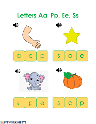 Covering, letters of the alphabet. Phonics Review Worksheet