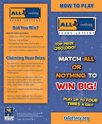All Or Nothing How To Play Brochure Texas Lottery