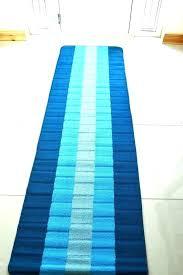 blue and white runner rug striped