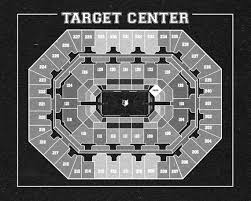 Target Center Seating Chart Vintage Print Of Target Center Seating Chart On Premium Photo Luster Paper Heavy Matte Paper Or Stretched Canvas Free Shipping