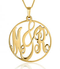 14k gold monogram necklace framed monogram